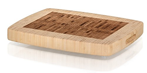 Prosumer's Choice Large Bamboo Chopping Butcher Block | Non-Slip Feet | Dual-colored Design
