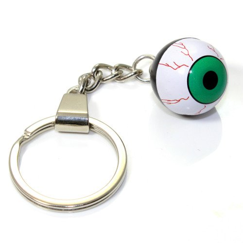 (Green EyeBall Key Chain Ring Fob -for house home, car, truck, bike)