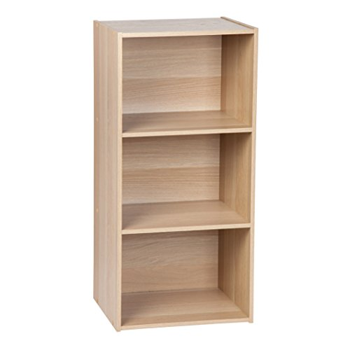 IRIS 3-Tier Basic Wood Bookcase Storage Shelf, Light Brown - Narrow 3 Shelf Bookcase