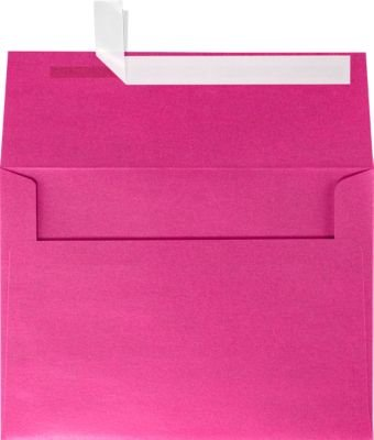 5 X Azalea - LUXPaper A7 Invitation Envelopes for 5 x 7 Cards in 80 lb. Azalea Metallic, Printable Envelopes for Invitations, w/Peel and Press Seal, 50 Pack, Envelope Size 5 1/4 x 7 1/4 (Pink)
