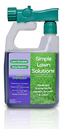 Commercial Grade Lawn Energizer- Grass Micronutrient Booster w/ Nitrogen- Natural Liquid Turf Spray Concentrated Fertilizer- Any Grass Type, All Year- Simple Lawn Solutions- 32 Ounce - Liquid Nitrogen Fertilizer