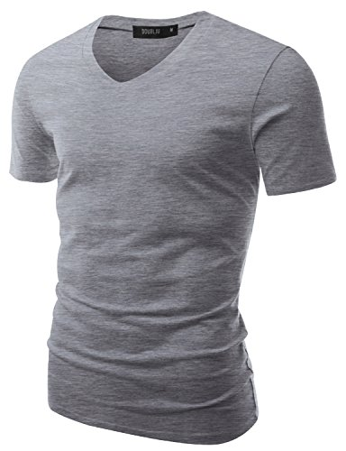 Doublju Mens Classic Regular Fit Solid Color Short Sleeve T-shirt GRAYBEIGE, US M / Asia L (Sueded Rugby Shirt)
