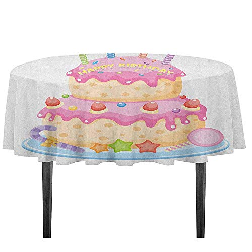 (GloriaJohnson Kids Birthday Waterproof Anti-Wrinkle no Pollution Pastel Colored Birthday Party Cake with Candles and Candies Celebration Image Outdoor Picnic D59.05 Inch Pale Pink)