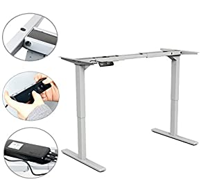 Yaekoo Electric Height Adjustable Sit to Stand up Desk Frame w/ Dual Motor, Ergonomic Standing Desk Frame with 4 Memory Control (Grey)