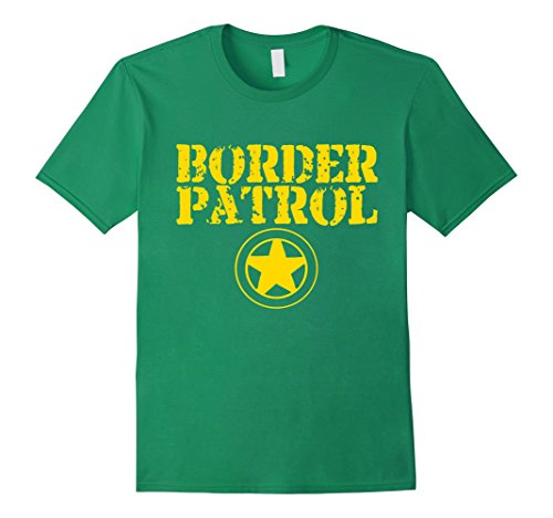 Mens Border Patrol Shirt Costume - Halloween T-Shirt Store Large Kelly Green (Offensive Halloween Costumes College)