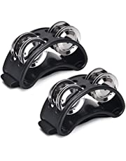 Facmogu 2PCS Foot Tambourine, Double Row Percussion Musical Instrument Bells with 4 Paris of Metal Jingle Bells & Adjustable Strap, Drum Instrument Accessory - Black