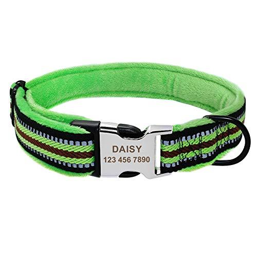 SOCHII Dog Collar Personalized Nylon Pet Puppy Tag Collar Soft Padded Custom Coleira Perro for Small Medium Large Dogs Pitbull Bulldog Green L