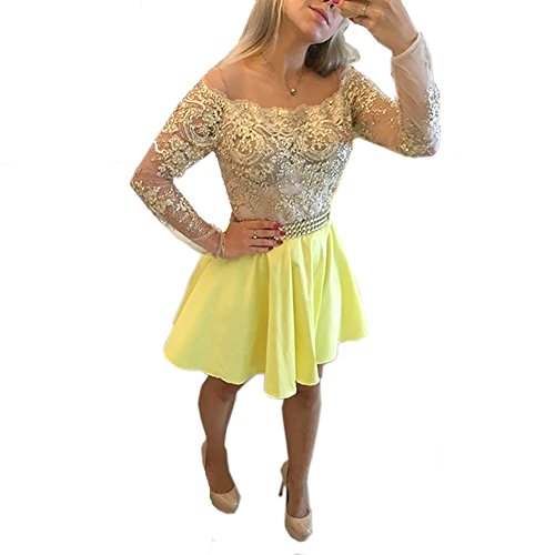 Blevla Off The Shoulder Long Sleeves Lace Appliques Homecoming Dresses Short Prom Gowns Yellow US 4 by Blevla