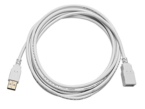 Monoprice 10-Feet USB 2.0 A Male to A Female Extension 28/24AWG Cable (Gold Plated), White (108607)