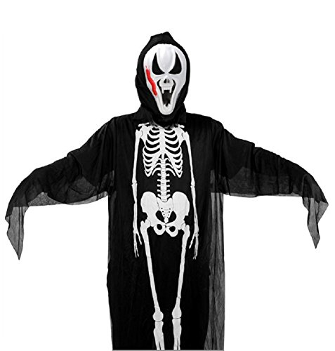 HALLOWEEN BONES ROBE and MASK Ghost Costume for Adult and Children