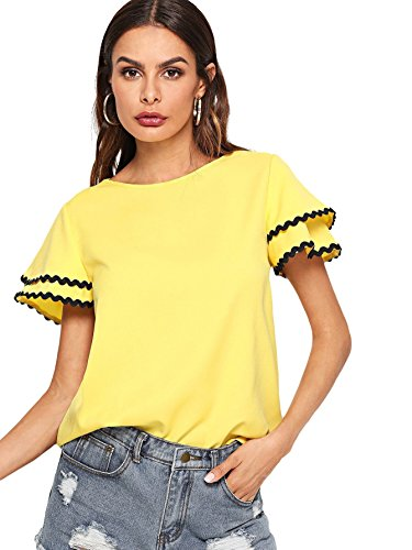 (Floerns Women's Layered Ruffle Lace Trim Short Sleeve Blouse Tops Yellow M )