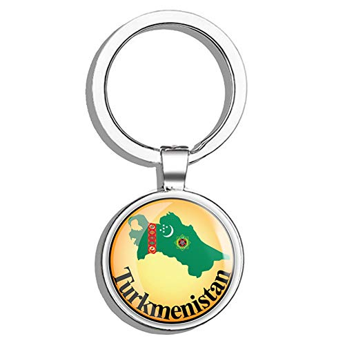 Glover Trading Turkmenistan Map Flag Glossy Label Round Stainless Steel Metal Key Chain Keychain Ring Double Sided Deisgn