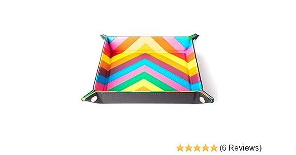 Metallic Dice Games LIC538 10 x 10 in Velvet Folding Dice Tray44; Watercolor Rainbow