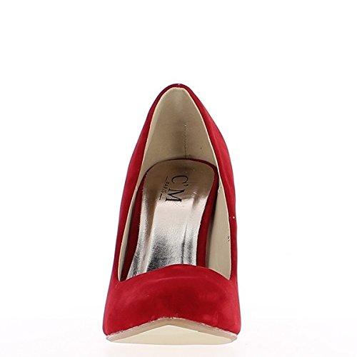 Bombas rojo mujer de tacón de consejos de 10,5 cm punto ante aspecto