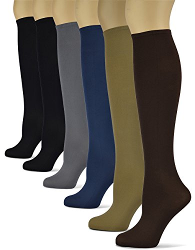 (Silky Smooth Knee High Trouser Socks by Sox Trot | Thin Material | Made in USA (Solid Basics) 6 Pack)