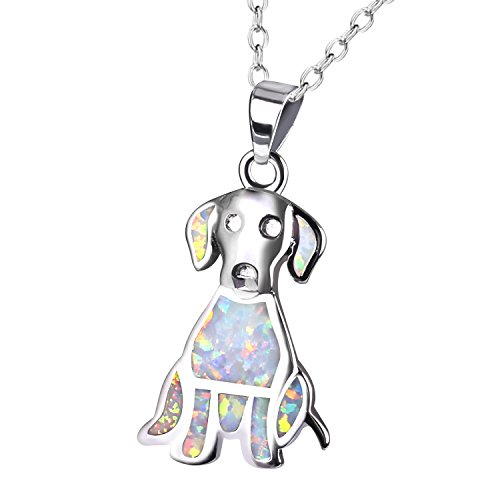 KELITCH Labrador Retriever Pendant Necklace Synthetic Opal Animal Choker Necklace Jewelry Gift (White) Synthetic Opal Necklace