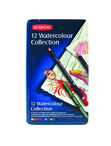 Derwent Colored Pencils, Watercolor, Water Color Pencils, Drawing, Art, Metal Tin, 12 Count (0700303) (Derwent Burnisher)