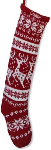 Cat Santa Sock RWLA Red Christmas Stocking Knit Christmas Stocking Knit Holiday Stocking Personalized Sock Fair isle stocking