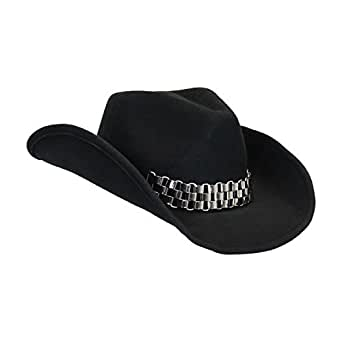 Rockstar Cowboy Hats : rockstar black wool cowboy hat with chain shapeable brim and free sizing tape at amazon men s ~ Russianpoet.info Haus und Dekorationen