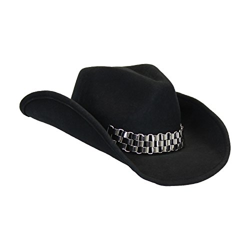 Rockstar Black Wool Cowboy Hat with Chain, Shapeable Brim and Free Sizing Tape (Adult Black Cowboy Hat)