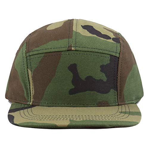 The Hat Depot Made in USA 5 Panel Genuine Leather Brass Closure Flat Brim Biker Cap (Camo1)