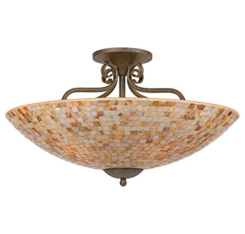 Flush Semi 24 - Quoizel MY1723ML Monterey Mosaic 5 Light 24-Inch Semi Flush Mount, Malaga