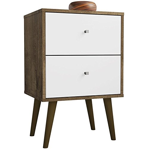 Manhattan Comfort 204AMC96 Liberty Modern 2 Drawer Bedroom Nightstand/End Table, Rustic Brown/White