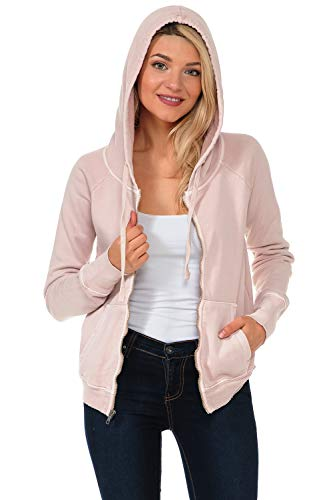 YURO-K Women's Premium Pigment Dyed Cotton Zip Up Hoodies (Dust, X-Large) (Dyed Cotton Pigment Full Zip)