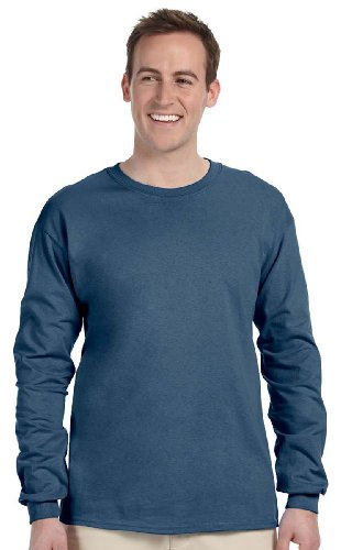 Gildan mens Ultra Cotton 6 oz. Long-Sleeve T-Shirt(G240)-INDIGO ()