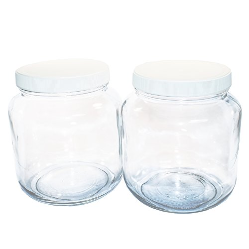 ((2 Pack) 1/2 Gallon Clear Glass Jar with White Plastic Cap)