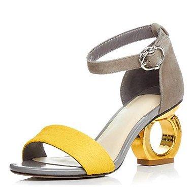 LvYuan-ggx Damen High Heels Pumps Leder Sommer Normal Pumps Spulen Absatz Schwarz Gelb 7,5 - 9,5 cm