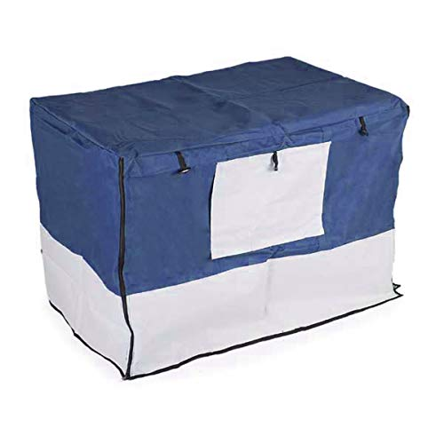 Iconic Pet Protectant & Durable Pet Crate Cover - Oxford Fabric, Water Resistant, Four Side Zippers for Better Visibility of Dogs/Cats, Navy Blue/Light Gray, 42
