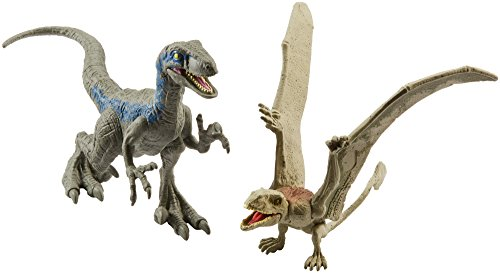 Jurassic World Dino Velociraptor Blue & Dimorphodon Figures, 2 Pack
