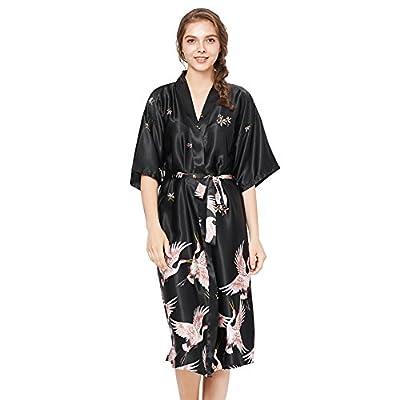 badiJum Women Kimono Robes Long Soft Sleepdress Lightweight Satin Nightwear Bathrobe