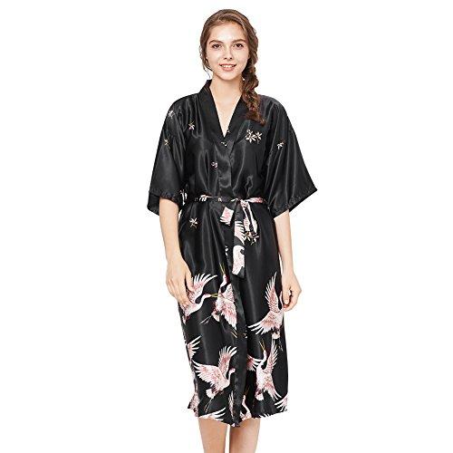 Sleep Dress Loungewear Women Kimono Robes Long Length Crane Printed Robe Black...