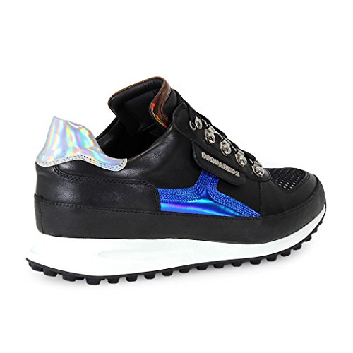 DSQUARED2 DEAN GOES HIKING BLACK BLUE LAMINATED SNEAKERS