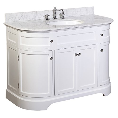 Montage 48-inch Bathroom Vanity Carrara White Includes a White Cabinet, Italian Carrara Marble Countertop, and Ceramic Sink