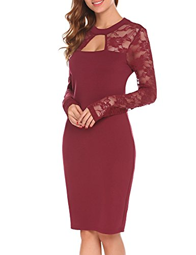 Party Lace Women's Cut Midi Long Clubwear Out Bulges Wine Bodycon Sleeve Dress Dress Red nz6aXxH