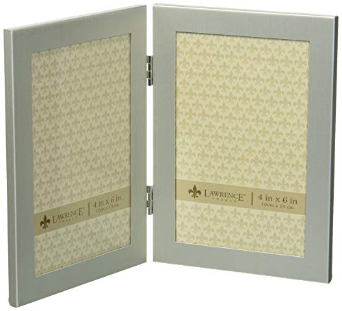 Lawrence Frames Brushed Silver 4 by 6 Hinged Double Metal Picture Frame