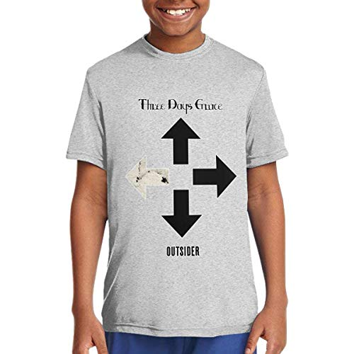 Three Days Grace - Outsider Music/Rock/Singer Cotton Shirt Teenage Round Neck Short Sleeve Shirts for Teen Boys and Girls Classic Fit Gray - Clothes Band Of Outsiders