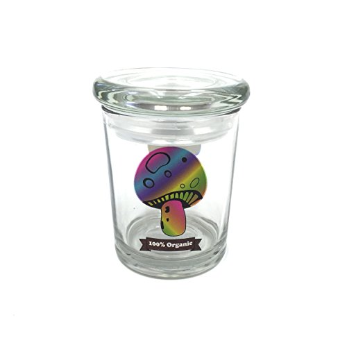 Multicolor Mushroom Pop Top Jar Glass Medical Jar Herb Storage Container (6oz Jar)