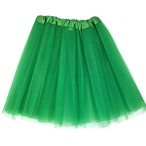 Green Adult Tutu (Tapp C. Women's Classic Elastic, 3-layered Tulle Tutu Skirt - Green)