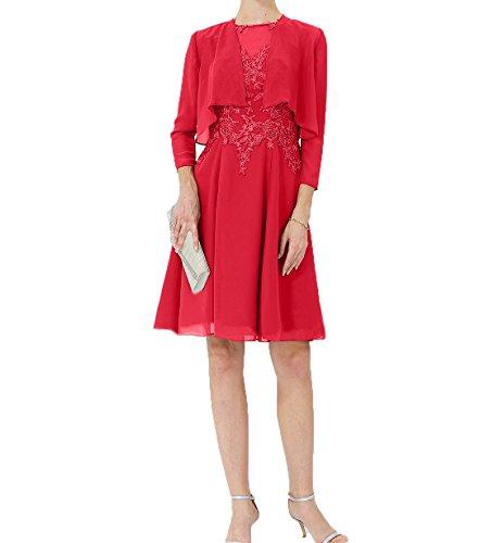 Abendkleider Partykleider Rot Chiffon Charmant Festlichkleider Brautmutterkleider Knielang Partykleider Jaket Damen mit UqwSPwAWxT