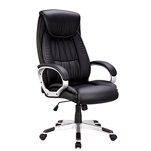 High-Back Executive Office Chair, IntimaTe WM Heart Faux Leather Large Seat Computer Desk Chair, Ergonomic Design Adjustable Seat Height, Synchro Tilt Mechanism, 360 Degree Swivel, Black