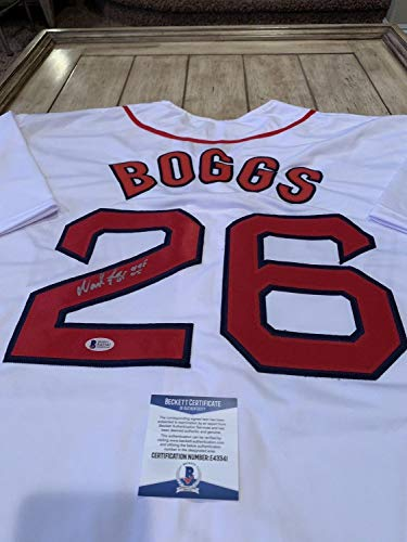 (Wade Boggs Autographed Signed Jersey Beckett Authentic COA Boston Red Sox)