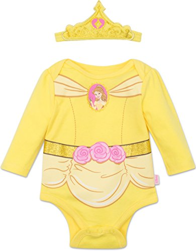 Pink Belle Costumes (Disney Princess Belle Baby Girls' Costume Long Sleeve Bodysuit and Tiara Headband Yellow, 0-3 Months)