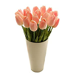 Happy E-life 10 PCS Beautiful PU Artificial Tulip Flowers with Leaves for Wedding Bouquet Decoration 67