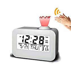 Talking Projection Alarm Clock, leapara Projection Clock Ceiling Clocks Time Projector, Digital Snooze Projection Alarm Clock, Travel Alarm Clock, LED Display Dual Alarm for Home Bedroom Travel(White)