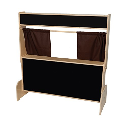 Natural Environments WD21652BN Flannelboard Puppet Theater w/Brown Curtains by Wood Designs
