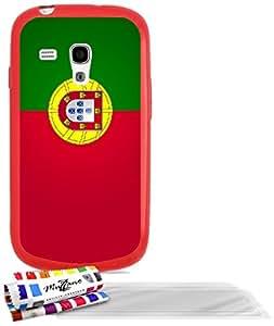 """Carcasa Flexible Ultra-Slim SAMSUNG I8190 de exclusivo motivo [Bandera portugal] [Roja] de MUZZANO  + 3 Pelliculas de Pantalla """"UltraClear"""" + ESTILETE y PAÑO MUZZANO REGALADOS - La Protección Antigolpes ULTIMA, ELEGANTE Y DURADERA para su SAMSUNG I8190"""